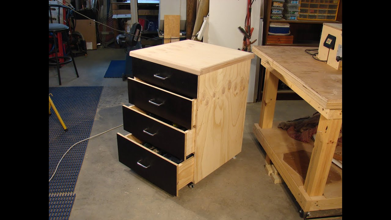60 Simple dado  plywood rolling shop cabinet 1  YouTube