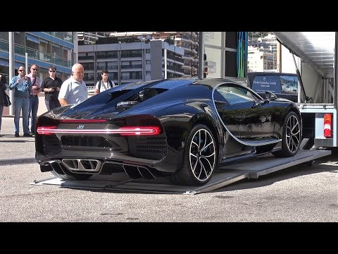 BUGATTI CHIRON getting unloaded in Monaco!