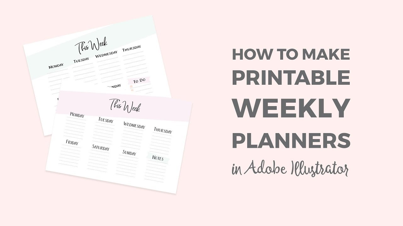 photo about How to Make a Printable named How in the direction of produce a printable weekly planner within just Illustrator