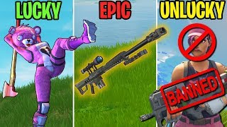 BANNED for Using the P90? LUCKY vs EPIC vs UNLUCKY! Fortnite Battle Royale Funny Moments