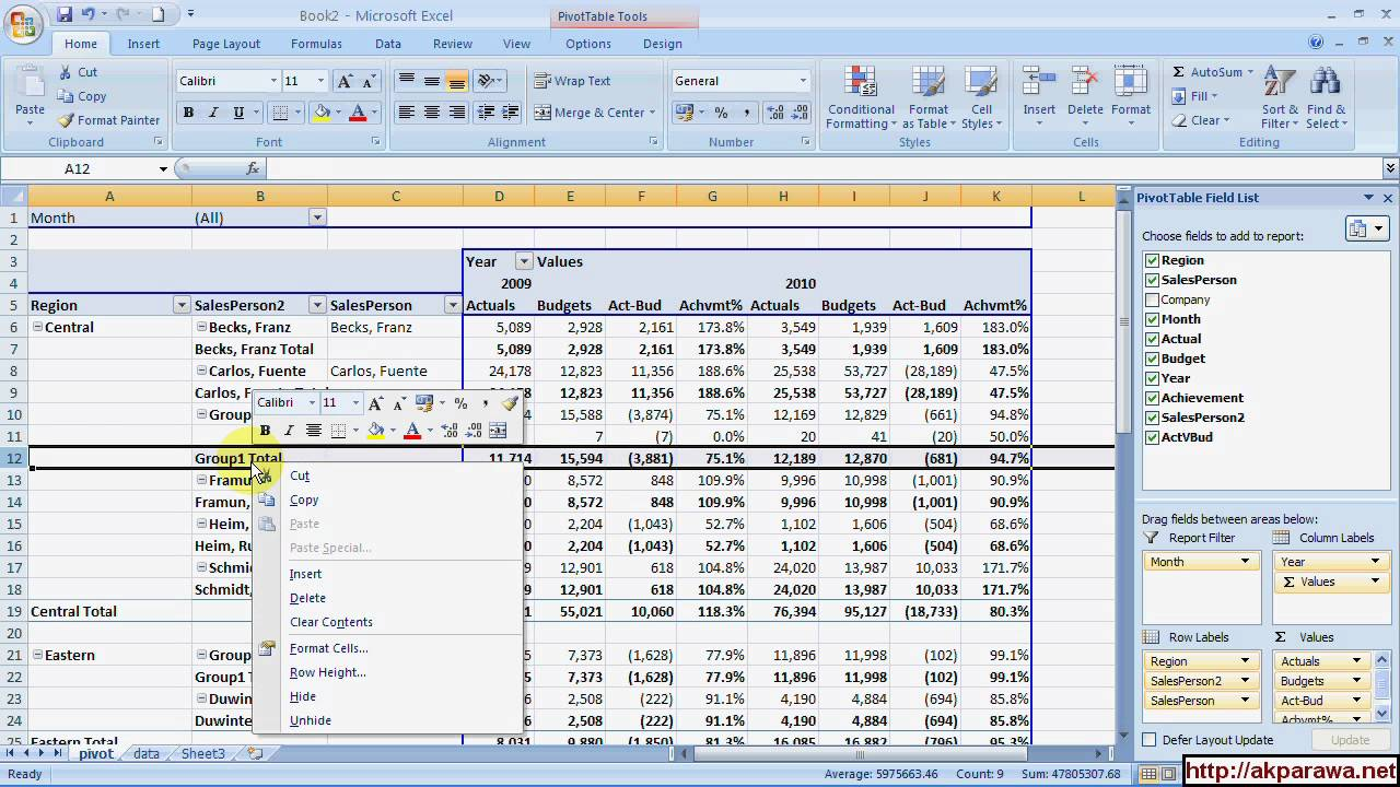 pivot table actual vs budget analysis part 2 youtube