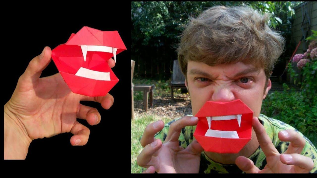Halloween Origami Vampire Mouth Tutorial Youtube Diagram