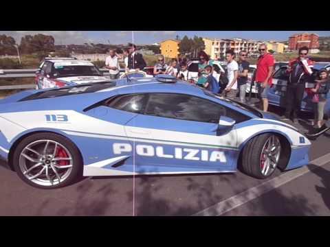 Lamborghini police car and Lancia rally cars  WRC Rally Italia Sardegna 2016