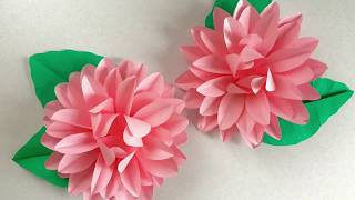A4コピー用紙1枚で作るダリア Dahlia made with one A4 size print paper