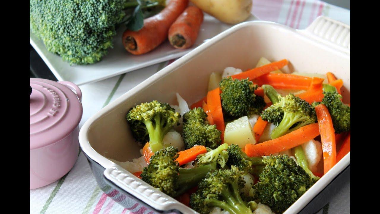 Verduras al vapor br coli zanahoria patata cocina for Cocinar zanahorias al vapor