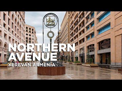 Walking Along North Avenue In City Of Yerevan Armenia