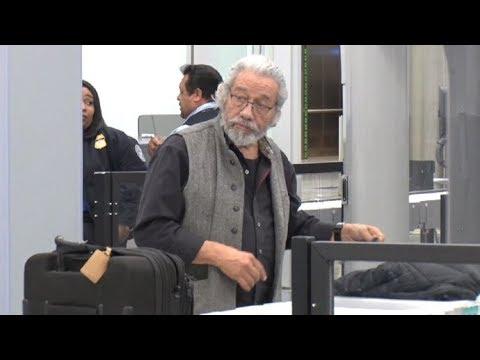 Edward James Olmos Looking Like Santa Claus Going Through LAX TSA!
