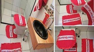 Tapetes para banheiro feito de toalha