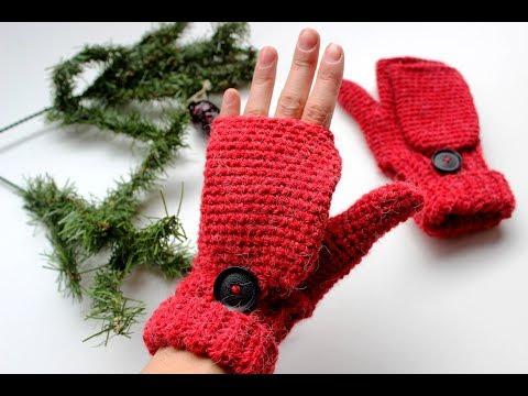 crochet convertible fingerless mittens adult size
