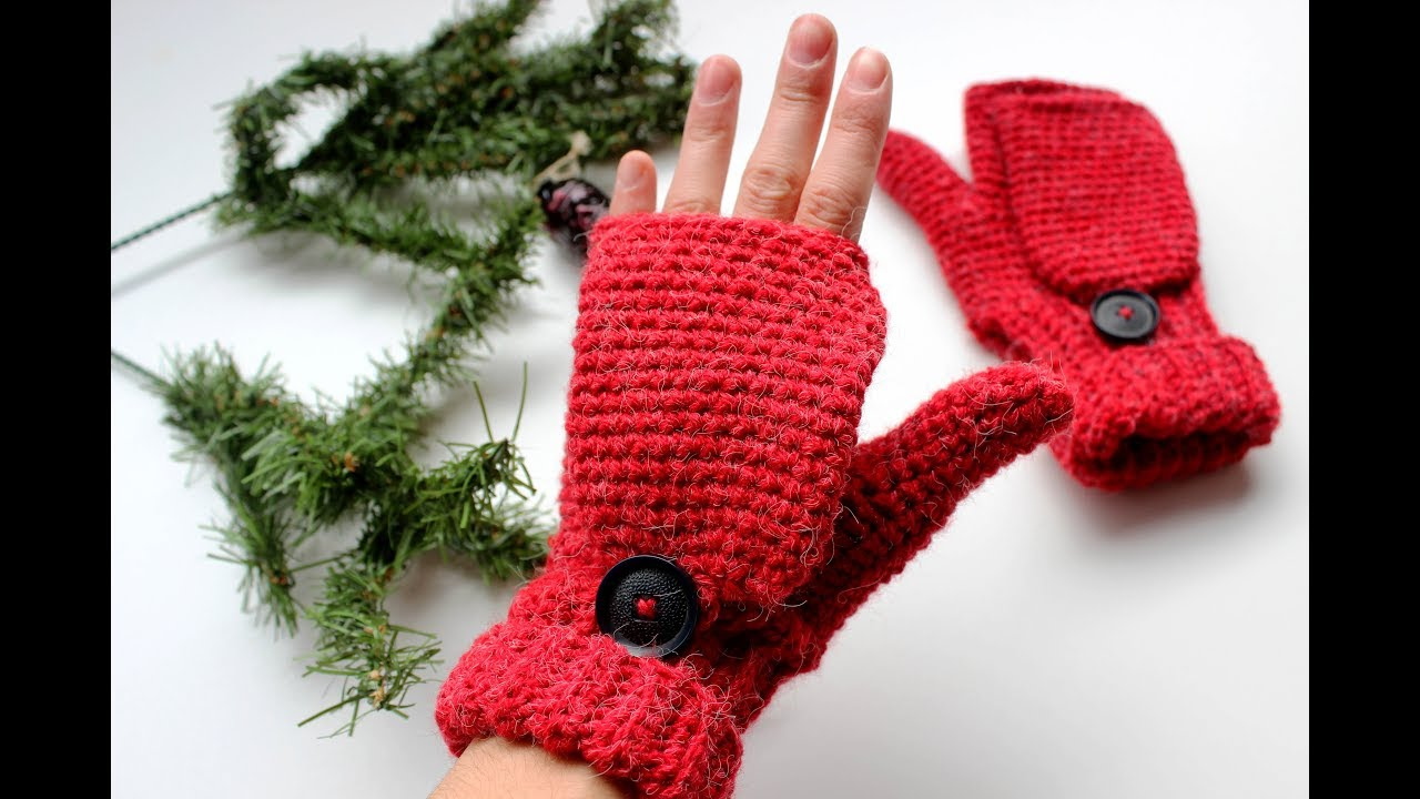 Crochet Convertible Fingerless Mittens Adult Size Youtube