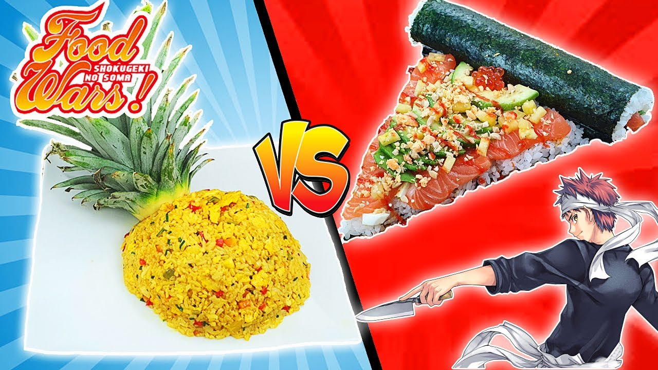 Arroz al CURRY con PIÑA VS. SUSHIPIZZA de SHOKUGEKI NO SOMA | FOOD WARS