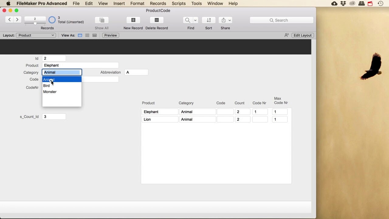 Filemaker Pro - Product Code Letter and Number