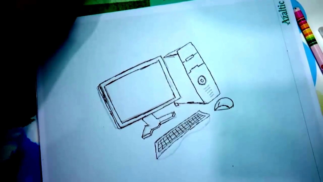 how to draw a computer for kids Step By Step Easily - YouTube