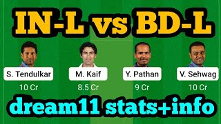 IN-L vs BD-W Dream11| IN-L vs BD-L | IN-L vs BD-L Dream11 Team|