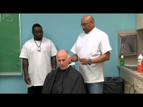 A video of Anthony Barton's barber training class features Greenburgh Town Supervisor Paul Feiner getting a haircut.