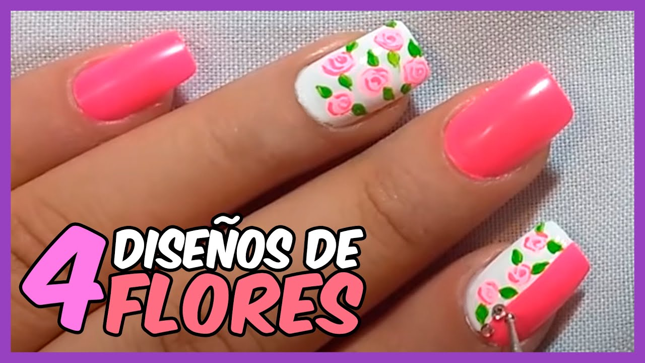 ideas de dise os de u as con flores paso a paso youtube