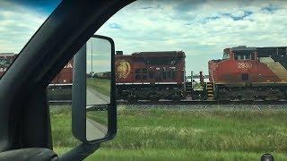 CP Train Spotting HD: CP 9649 CN 2930 & CP 9767 Sits At Stroick Edmonton AB 1/1 7/13/18