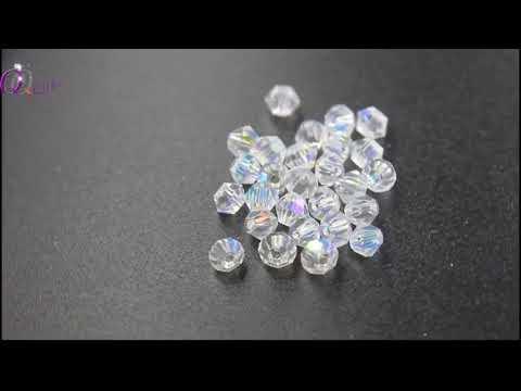 Fabric Crystal AAA 4MM Bicone, Crystal AB Glass Beads