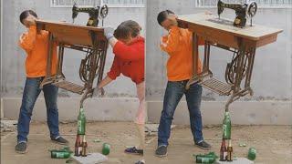 extreme challenge , Infinity challenge😘 balancing beer bottle with sewing machine |bảnnăngvôcực#3