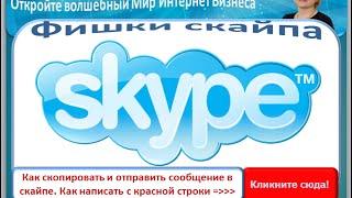 Фишки скайпа *Как скопировать и отправить сообщение* - *Как написать с красной строки*(Получить видео-курс