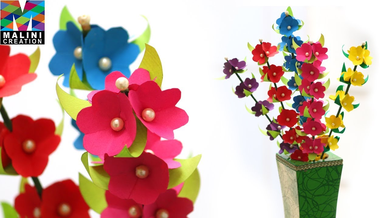 Paper Flowers Sticks Multicolour Flowers Beautiful Bunch Of