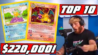 LOGAN PAULS Top 10 Most Valuable Pokemon Cards Pulled
