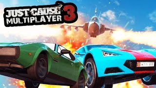 JUST CAUSE 3 MULTIPLAYER - 1 FIGHTER JET VS 2 CARS (DRIVE OFF THE CLIFF CHALLENGE)