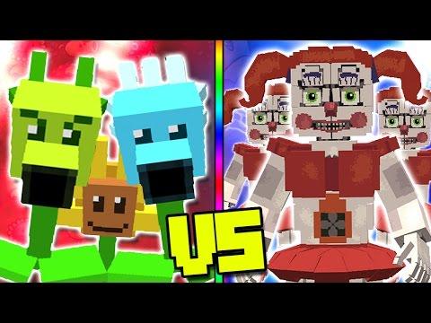"""PLANTS VS ZOMBIES"" VS ""FNAF SISTER LOCATION"" - Plants vs Zombies Mod Minecraft - TEAM PLANTS FIGHT!"