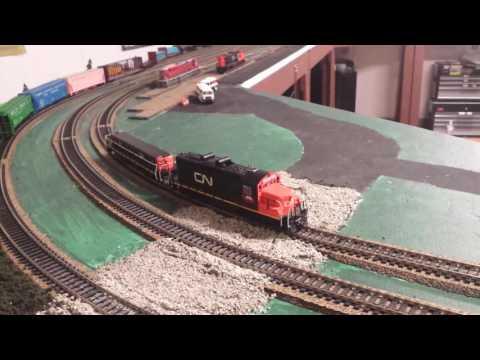 Kenora Ontario Canada CN rail model railway CN GP9RM with slug