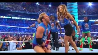 Eve kicks Zack Ryder balls