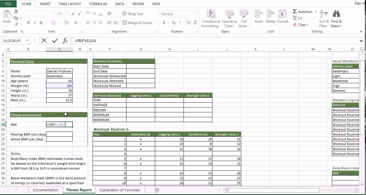 301 Entering Bmr Formula In Excel  Cis 101