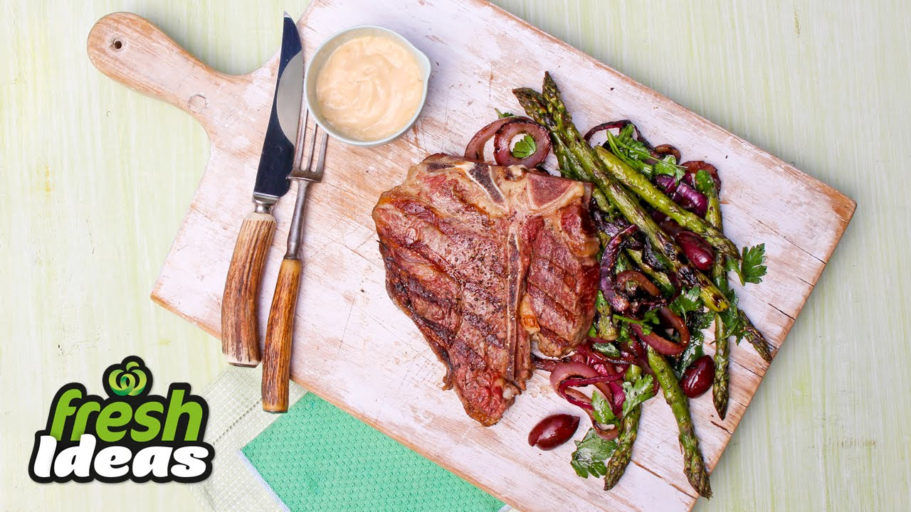 How To Cook Tbone Steak With Asparagus And Onion €� Chefs Secrets