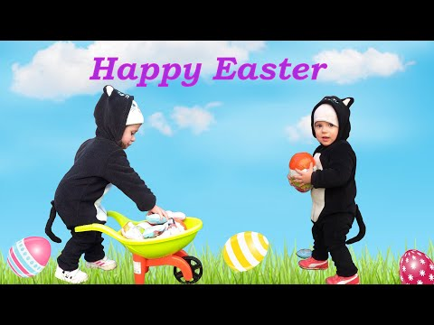 Funny Cats Dress - Giant Easter Eggs - Toys - Happy Easter Music - Baby Monkey