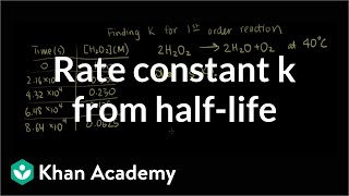 Rate constant k from half-life example | Knetics | Chemistry | Khan Academy