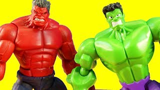 Hulk Toys Building ! Hulk Build A Figure + Marvel Red Hulk Practice Battle