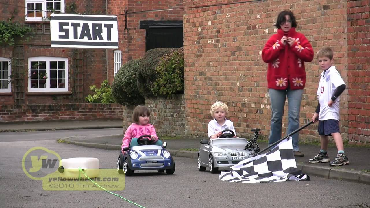 electric mini and bmw kids car race 1 youtube