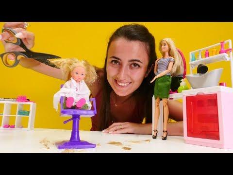 Barbie oyunları. Sevcan'ın güzellik salonunda Steffie saçını kestiriyor
