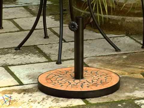 23 lb terra cotta mosaic patio umbrella stand product review video