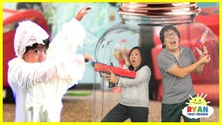 Ryan vs Mommy and Daddy in a Box Jar with Nerf Toys Pretend play
