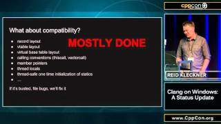 "CppCon 2015: Reid Kleckner ""Clang on Windows: a status update"""