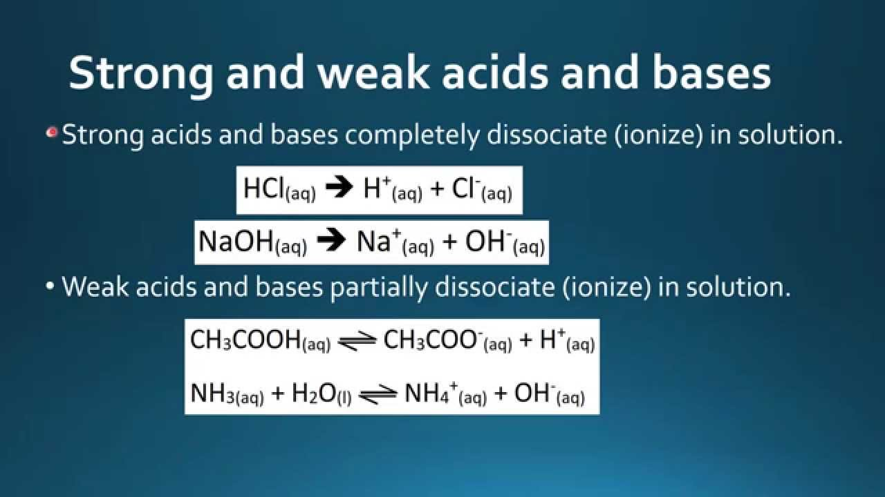 8 3 3 distinguish between strong and weak acids and bases youtube