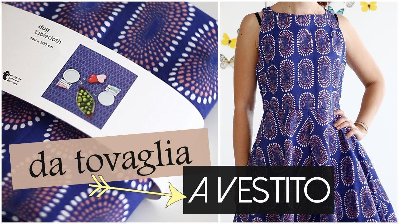cheap for discount 50e8c d01c3 Refashion: da tovaglia a vestito | DIY cucito cartamodello Burda Luglio  2017 | Un punto alla volta