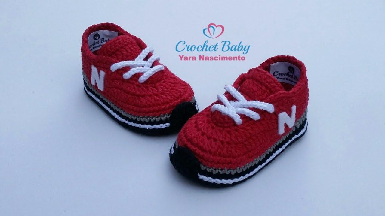29fcaa945 Tênis NEW BALANCE de crochê - Tamanho 09 cm - Crochet Baby Yara ...