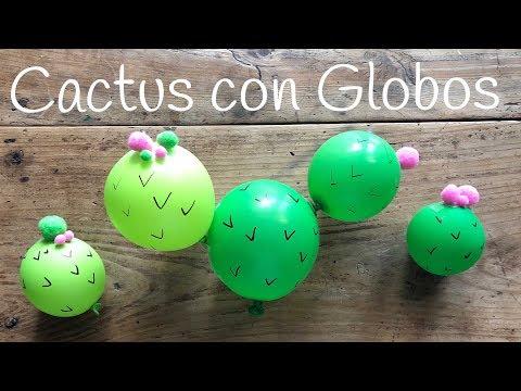Cactus con globos, manualidades fáciles para hacer en casa