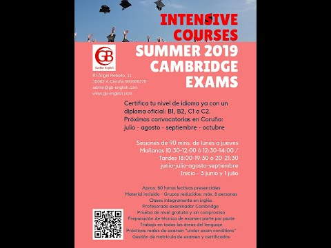 Intensivos verano 2019 GutBer English - Exámenes Cambridge B1 - B2 - C1