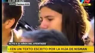Ejes, TN   Acto en la AMIA, Cristina Pérez lee carta de Iara Nisman