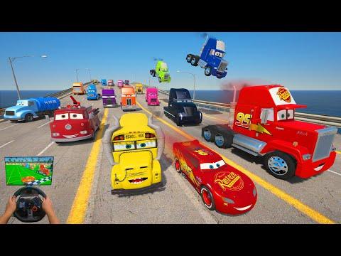 Crazy Cars   Race McQueen VS Trucks Mack Gale Beaufort Miss Fritter FireTruck Mr  Drippy & Friends