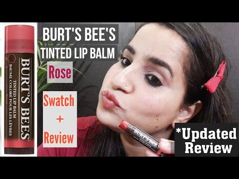 #BurtsBees|Burt's Bees Tinted lip balm|Rose|Updated Review|Hand + Lip Swatch