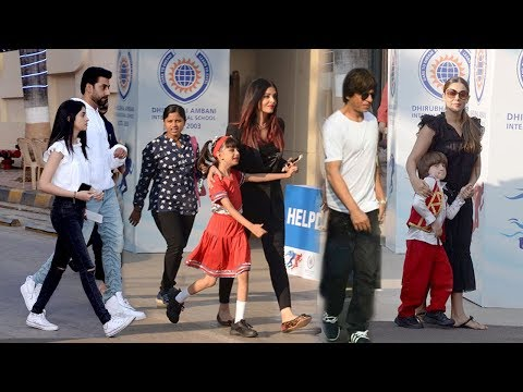 Shahrukh Khan With Son Abram Khan,Aishwarya Rai With Daughter Aaradhya At School Open Day Function