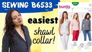 Burda 6533.  Pattern review. Shawl collar made easy.